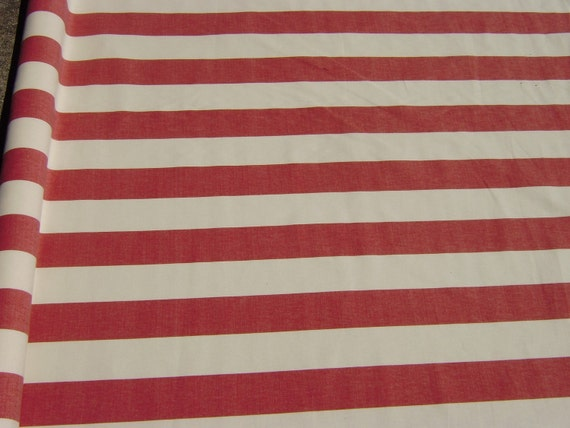 Red and white striped cotton fabric eBay