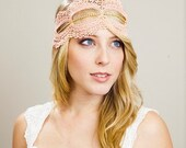 Pink Lace and Rhinestone Headwrap or Sash