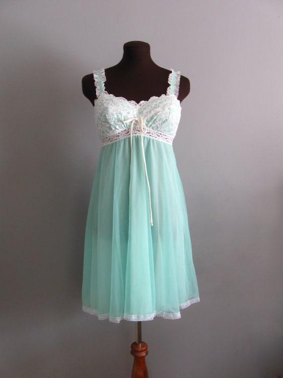 50s 60s Vintage Olga Seafoam Green Chiffon Amp Lace Babydoll