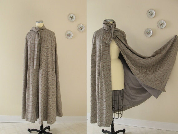 reserved... a 1960's cape / 60s vintage Glen Plaid long grey wool cloak with scarf collar