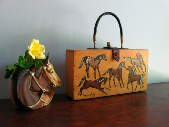 "Enid Collins ""horseplay"" vintage hand-painted wooden box bag"