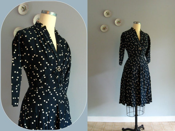 40s 50s dress / 1950's vintage Navy Blue & Starry White Polka Dot Poplin Dress ... 26-28 waist