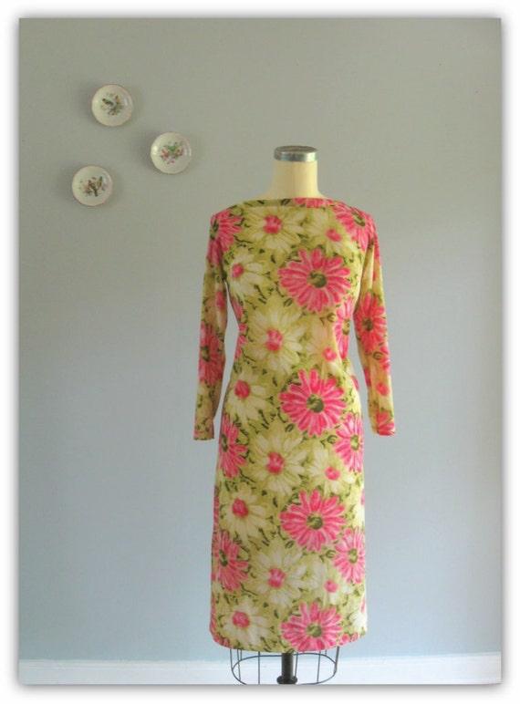 60s dress / 1960s vintage Leonard Paris jersey Splashy Daisy shift dress with leather fringe belt ... size S/M/L