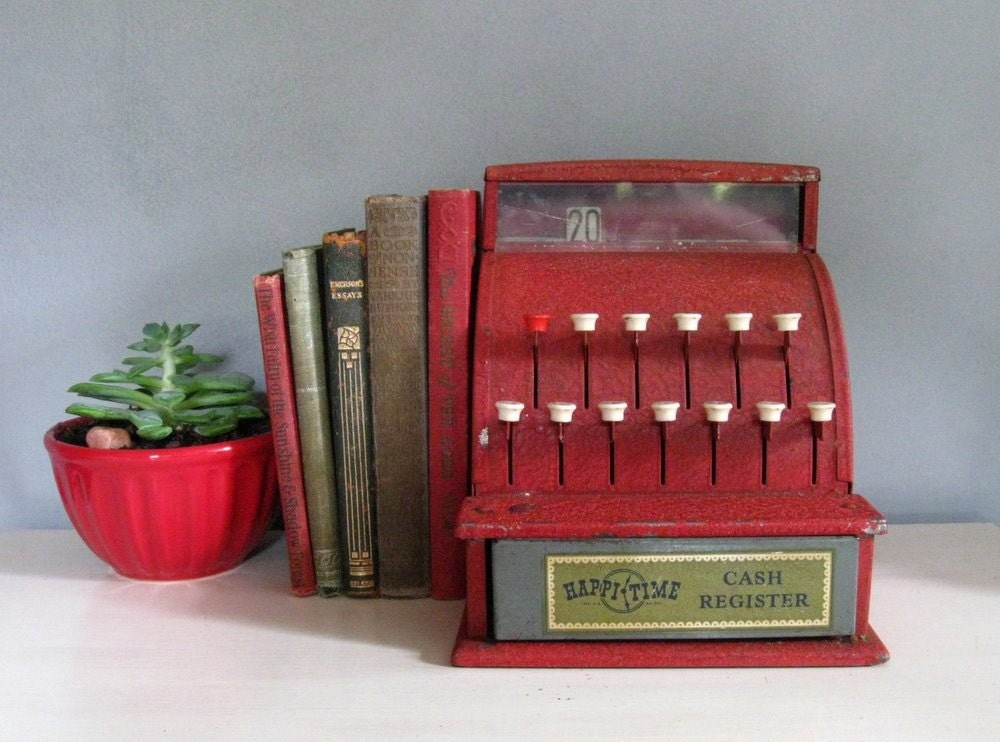 Toys From The 40s : S vintage red metal toy cash register happi time