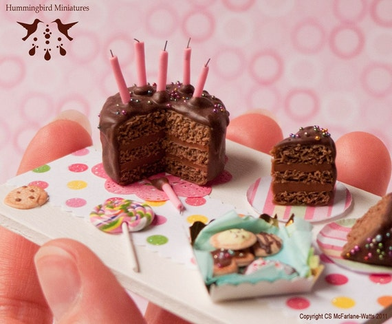 Chocolate Birthday Cake Board 1/12 scale dollhouse miniature