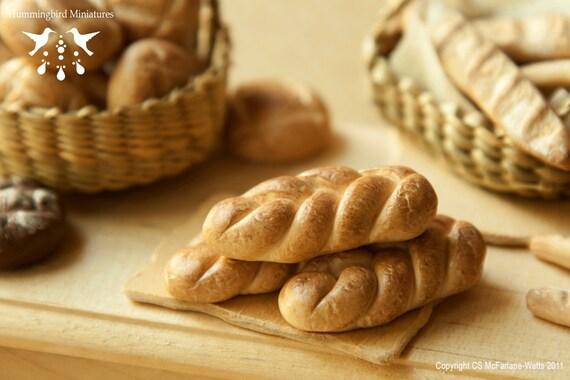 LAST ONE - French Brioche (Bread) 1/12 scale dollhouse miniature