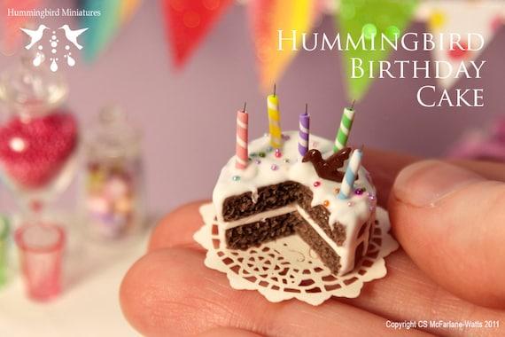 SALE - Hummingbird Birthday Cake 1/12 scale dollhouse miniature