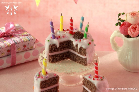 RESERVED Pink Birthday Cake 1/12 scale dollhouse miniature