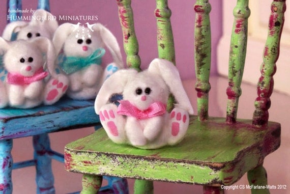 LAST ONE Fluffy Easter Bunny, Pink 1/12 scale dollhouse miniature