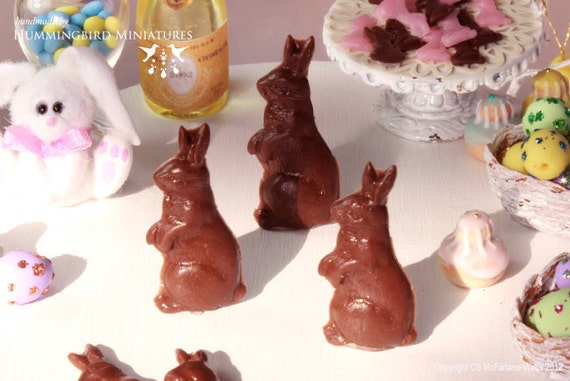 Chocolate Easter Rabbit 1/12 scale dollhouse miniature - EASTER RANGE