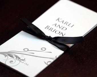 Custom Tri-fold Wedding Program with Satin Ribbon Tie - Deposit