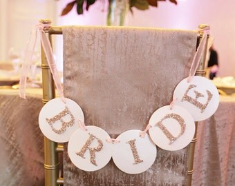 Bride and Groom Circle Glitter Chair Labels