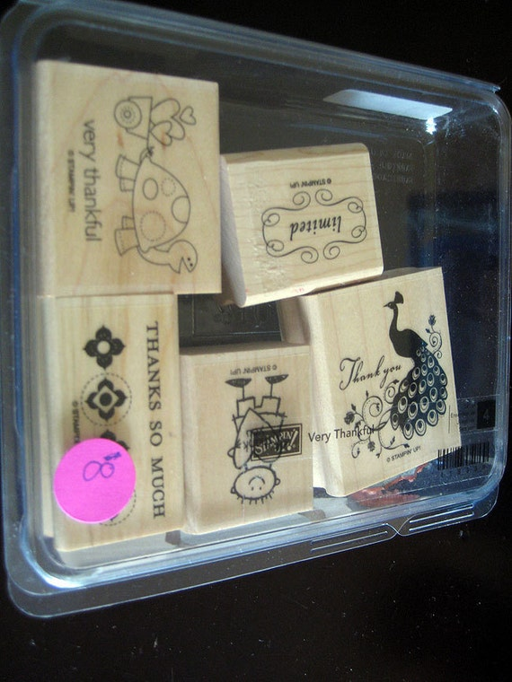 Stampin Up - Very Thankful Used Rubber Stamp Set