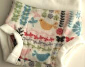 Fleece Diaper Cover - Make It Green (30% Recycled) Fleece - MEDIUM - Solid White with Birdies and Butterflies Trim