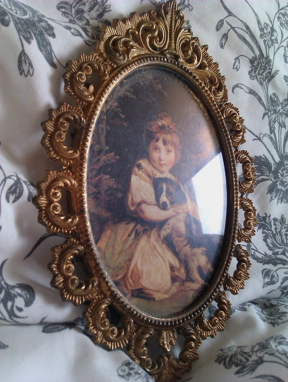 Reserved for cassandramosman-Victorian Style Brass Orante Picture Girl with Dog