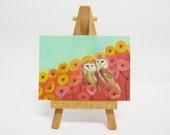 ACEO / ATC Owls Red Poppies Seafoam Green Owl Miniature Art Print Artist Trading Card