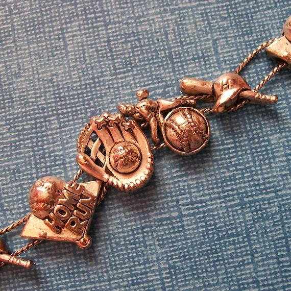 Slide Charms For Bracelets: Vintage Baseball Slide Charm Bracelet
