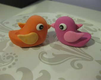 Pair of custom handmade love bird clay Cake Toppers