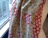 Red Cotton Scarf, with White Flowers, Pom Poms, recycled vintage indian sari, saree