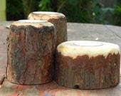 Pine and Cedar tea light candle holder set of 3
