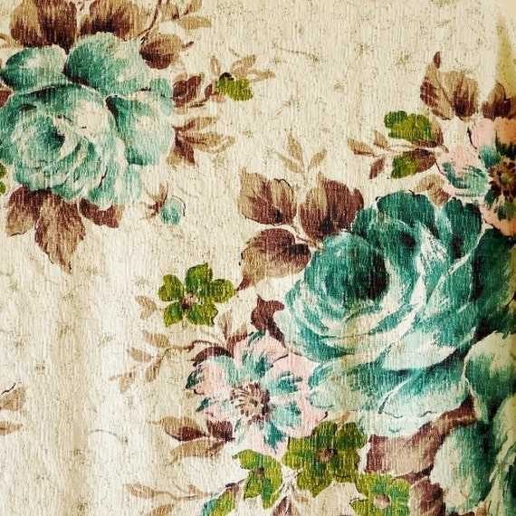 Fabric Vintage Barkcloth Teal Green Pink Roses By