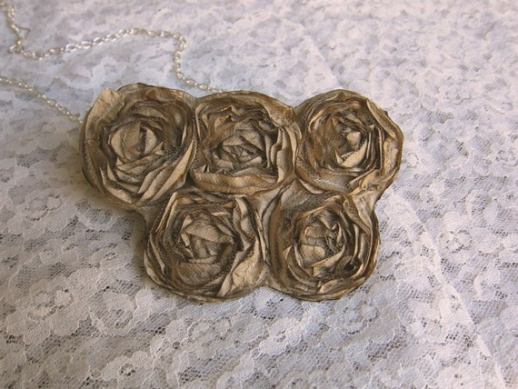 brown flower necklace, five small flowers - floral accessory, fabric necklace, necklace, floral jewelry, womens accessory, girl accessory