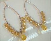 ON SALE  Yellow Citrine Marquis Earrings