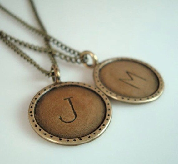 Any Letter Hand Stamped Brass Pendant Necklace