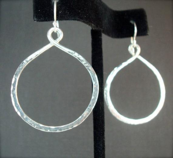 Hammered Sterling Hoop Earrings