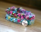 HAPPY Braided Fabric Bracelet with Hand-Stamped Tag