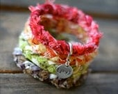 AUTUMN Splendor / CHRISTMAS Cheer Braided Fabric Bracelet with Hand-Stamped Tag