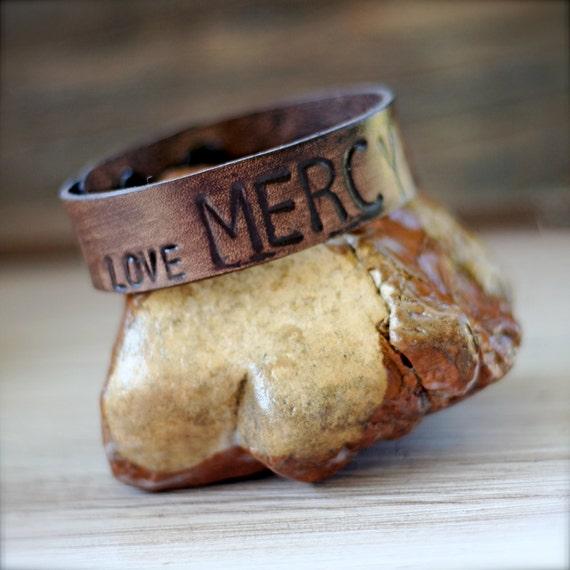 LOVE MERCY Leather Cuff Bracelet