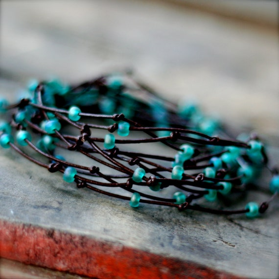 Brown/Turquoise BIRDS NEST Wrap Bracelet