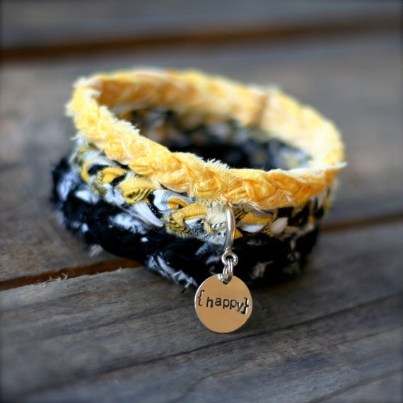 BUMBLEBEE Yellow Black Braided Fabric Bracelet with Hand-Stamped Tag