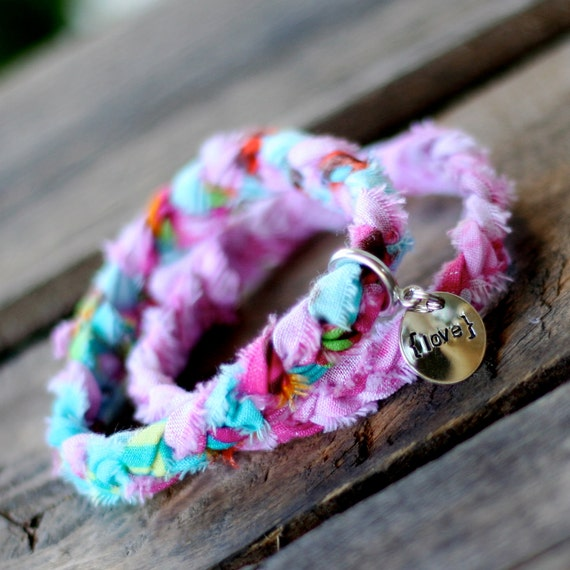 PRETTY IN PINK Braided Fabric Bracelet with Hand-Stamped Tag