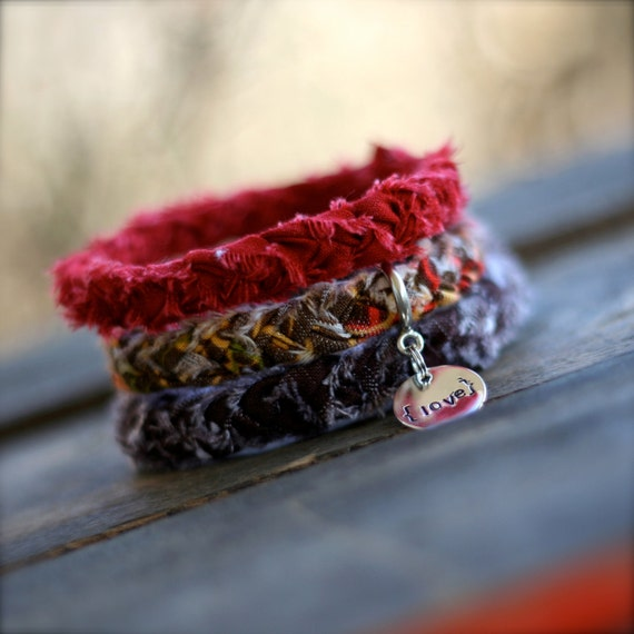 MAPLE LEAVES Braided Fabric Bracelet with Hand-Stamped Tag