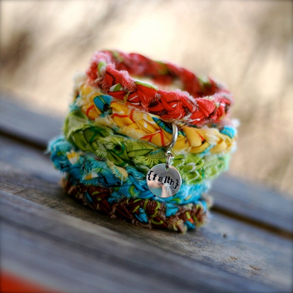 LAFFY TAFFY Braided Fabric Bracelets with Hand-Stamped Tag