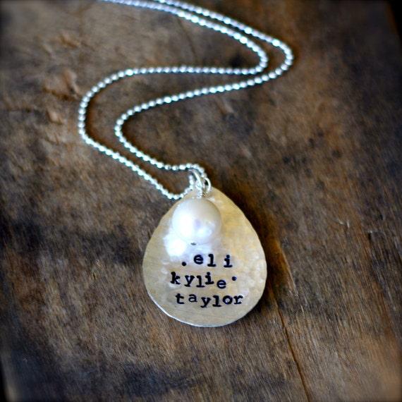 CUSTOM CHILDREN GRANDCHILDREN hand-stamped sterling silver necklace