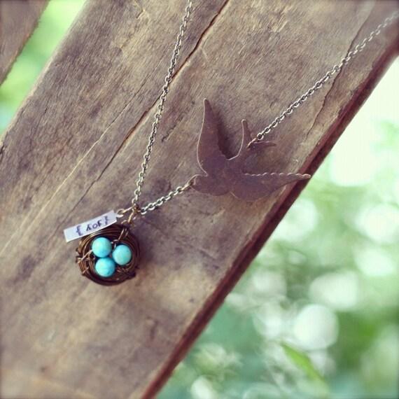 Wire Wrapped Sparrow Birds Nest Necklace