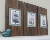 Set of Three Dark Stain Long Cottage Plank Frames for 4X6 Pictures