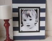 Large Navy and White Stripe Frame for 8x10