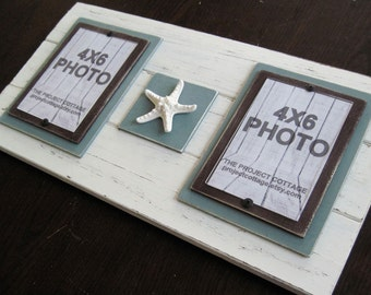 Double 4x6 Antique White and Turquoise  Plank Frame with Starfish