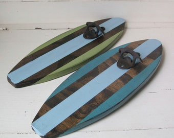 Turquoise and Blue Distressed Surboard Wall Mount Bottle Opener