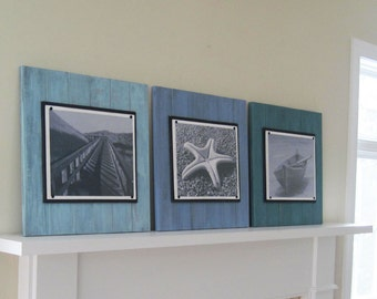 Set of 3 11x14 Xtra Large Sea Glass Color Plank Frames