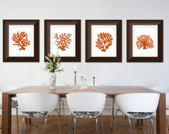 Coral Prints Set of Four Orange and White Silhoutte
