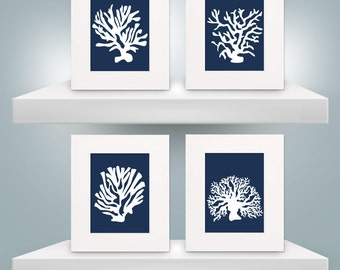 Set of Four 8x10 Navy Silhouette Coral Prints with 11x14 Mats
