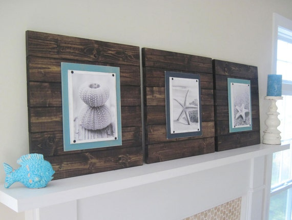 Set of 3 Xtra Large Dark Stain Plank Frames for 8x10
