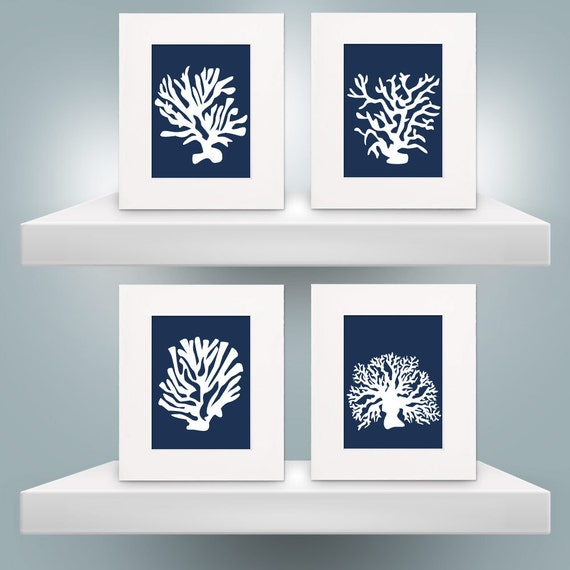 Custom for Nikki Set of Four 8x10 Navy Silhouette Coral Prints with 11x14 Mats