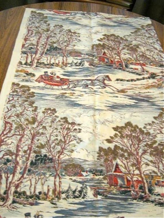 Currier Ives Barkcloth Winter Sleigh Ride Fabric  46 x 1yd
