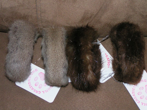GENUINE SQUIRREL FUR Bracelets or Cuffs (Set of 4)
